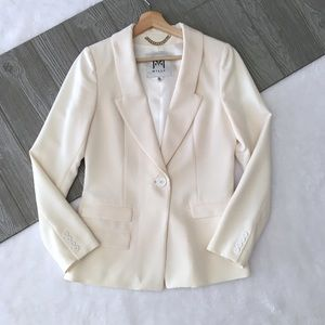 MILLY Relaxed Blazer Career Casual Solid White
